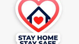 stay home and stay safe concept heart house poster
